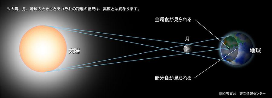日食が起こるしくみを説明した図 金環食の場合