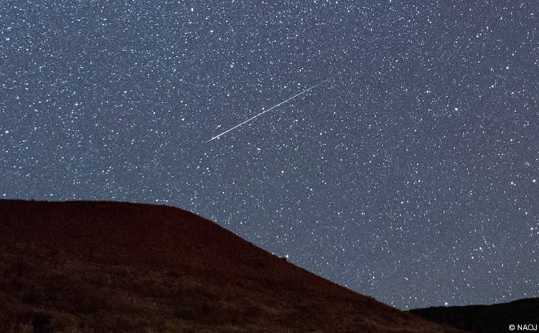 マウナケア山で撮影されたペルセウス座流星群の流星の写真