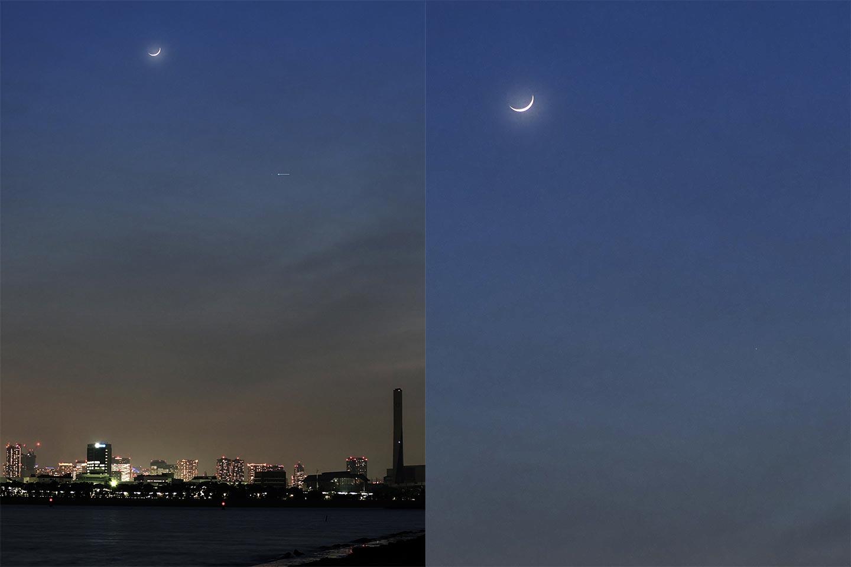 [左]2021年5月14日、日の入り後の月と水星(矢印の先)。[右]左の風景から月と水星部分をトリミングしたもの。
