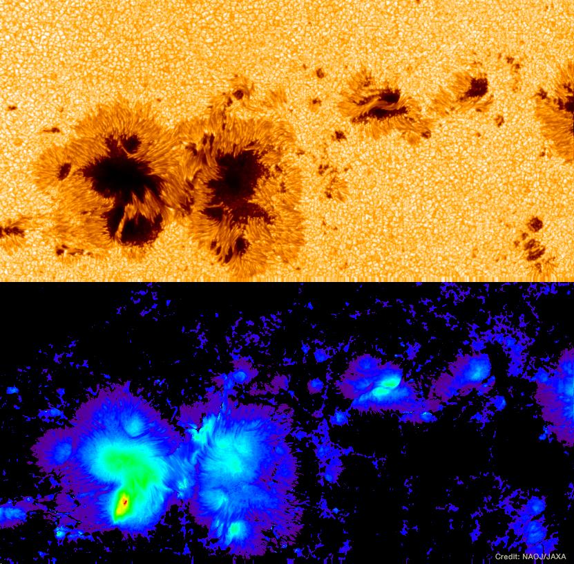 図:太陽観測衛星「ひので」が捉えた最強磁場を持つ黒点。