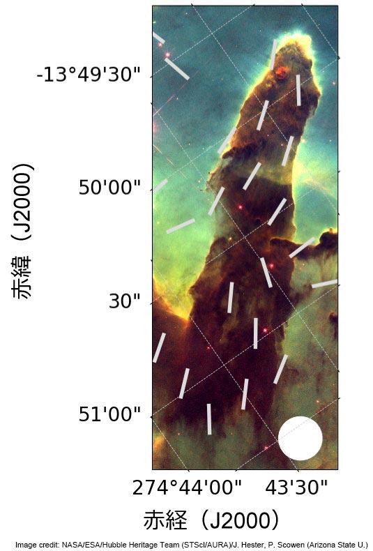 「創造の柱」の磁場構造