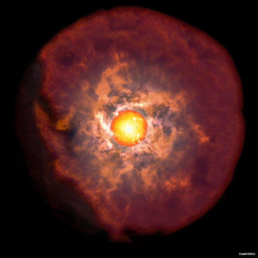 本研究により明らかになった大質量星の最期のイメージ