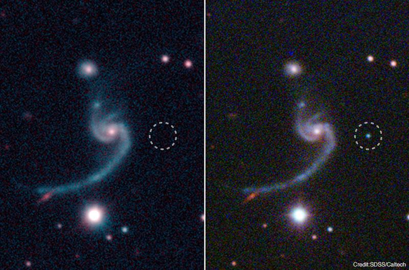 超新星 iPTF14gqr の出現前と出現後の画像