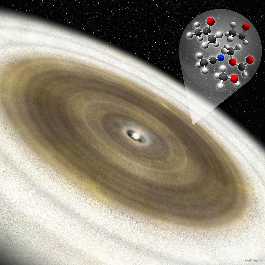 図:「オリオン座V883」をとりまく原始惑星星系円盤の想像図。