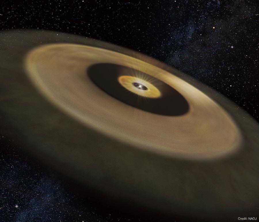 アルマ望遠鏡による観測をもとにした、おうし座HL星の想像図。星のまわりに2重の塵の円盤があることがわかりました。