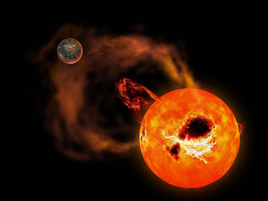 しし座AD星のスーパーフレアの想像図