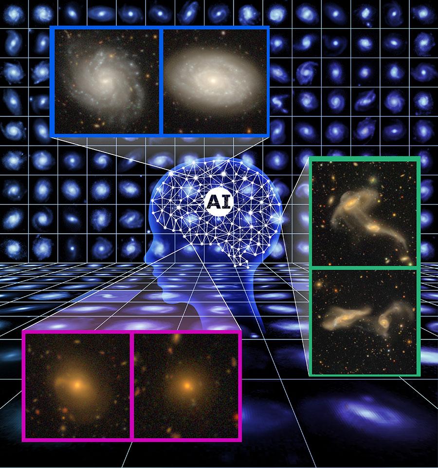 宇宙に存在する多様な形態の銀河が人工知能によって分類されるイメージイラスト