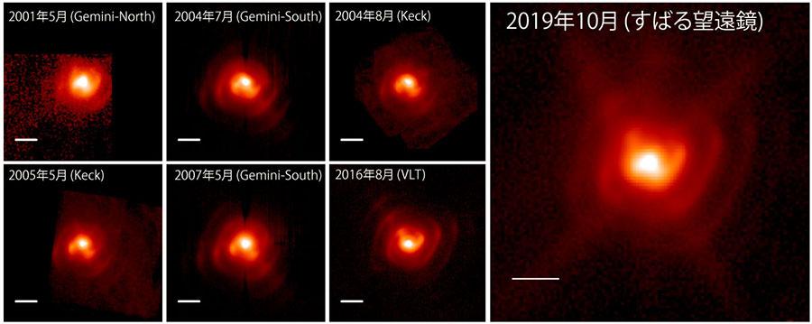 2001年から2019年にかけて捉えられた連星系「WR 112」の中間赤外線画像