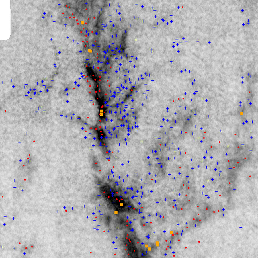 図:国立天文台野辺山45メートル電波望遠鏡と米国CARMA干渉計で得られた、オリオン大星雲の精密で広域の電波画像。