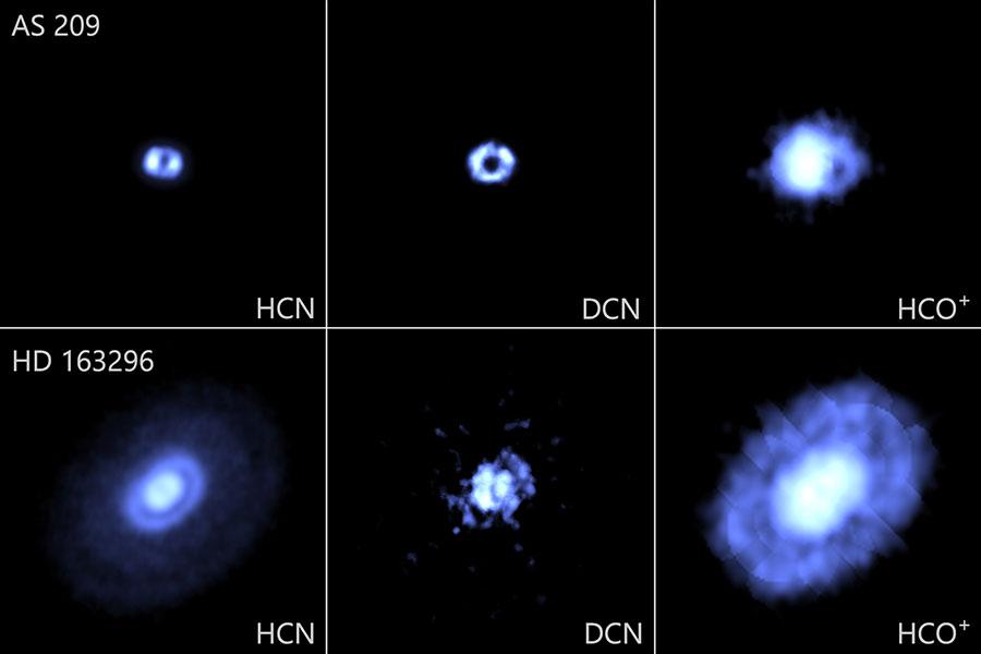アルマ望遠鏡が観測した、5つの若い星を取り巻く原始惑星系円盤のうちの2つ
