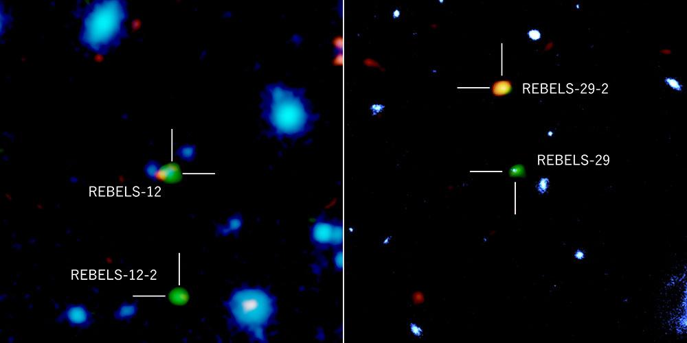 図:既知の遠方銀河(REBELS-12、REBELS-29)と、そこから少し離れた場所で発見された塵に埋もれた銀河(REBELS-12-2、REBELS-29-2)。