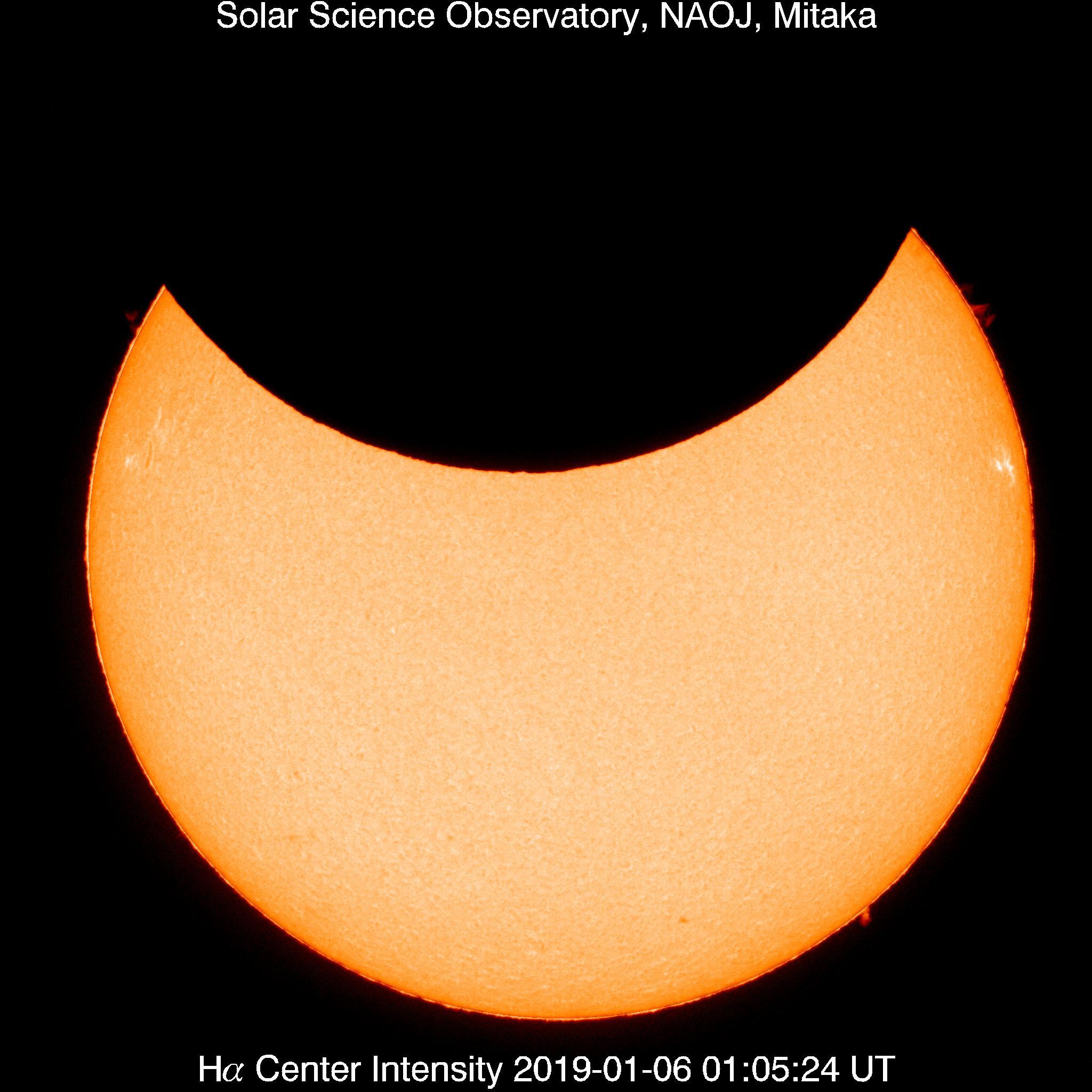 食が最大の頃の太陽フレア望遠鏡Hα線画像