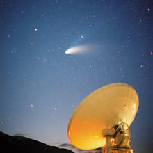The Nobeyama 45m Radio Telescope following Comet Hale-Bopp
