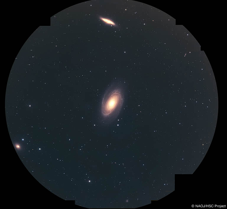 Pseudo-color images from HSC observation which contains M81, M82, and NGC 3077. Diameter of the FOV is 1.5 degrees.