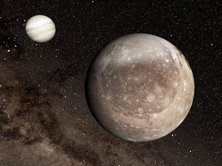 "Figure: Jupiter (background, left) and its moon Ganymede (foreground, right) visualized using the Four-Dimensional Digital Universe viewer ""Mitaka."""