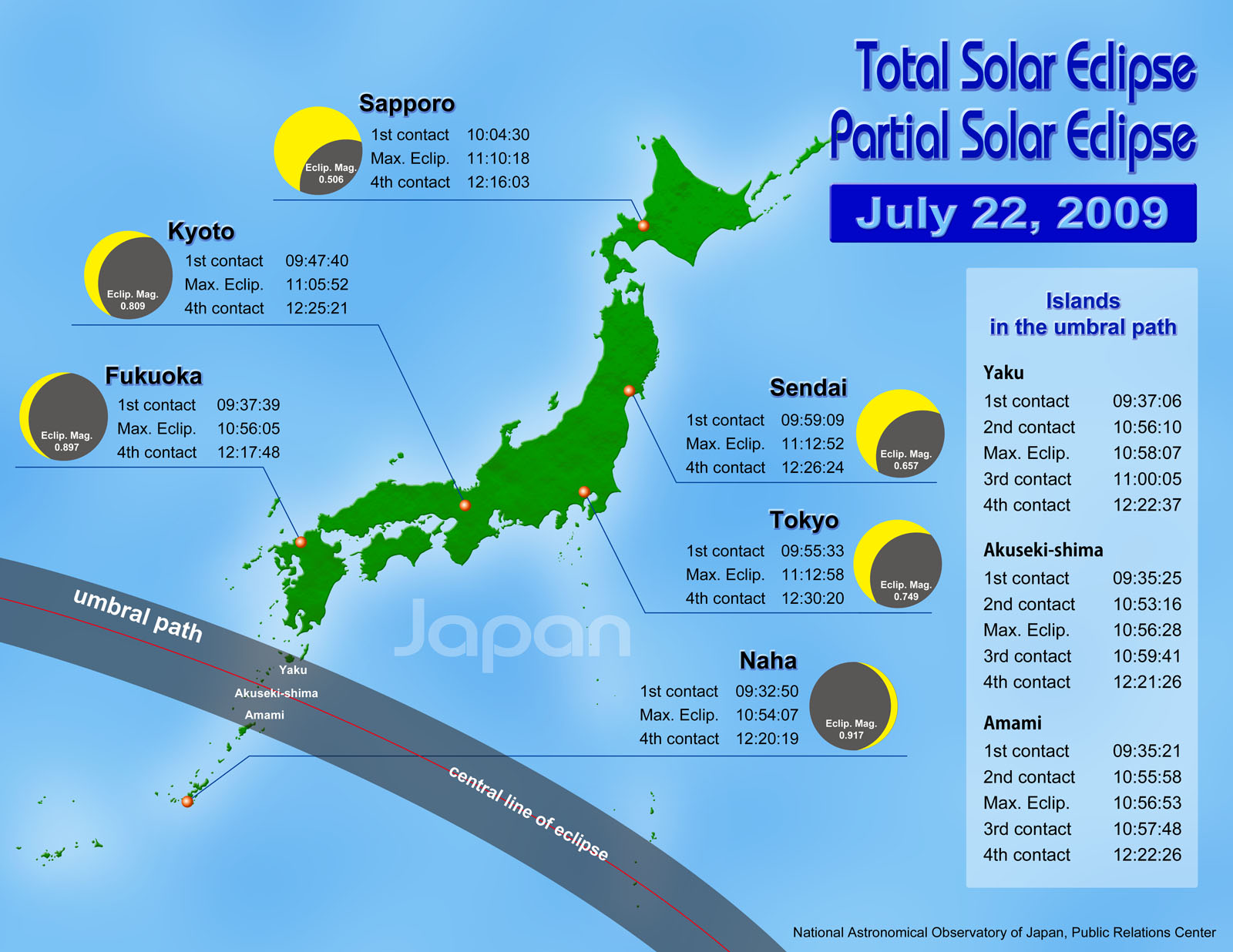 Eclipse map in Japan