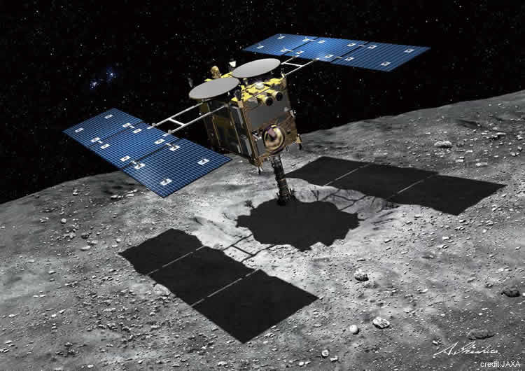 Imaginary figure of touch-down of Hayabusa2 spacecraft on the asteroid Ryugu